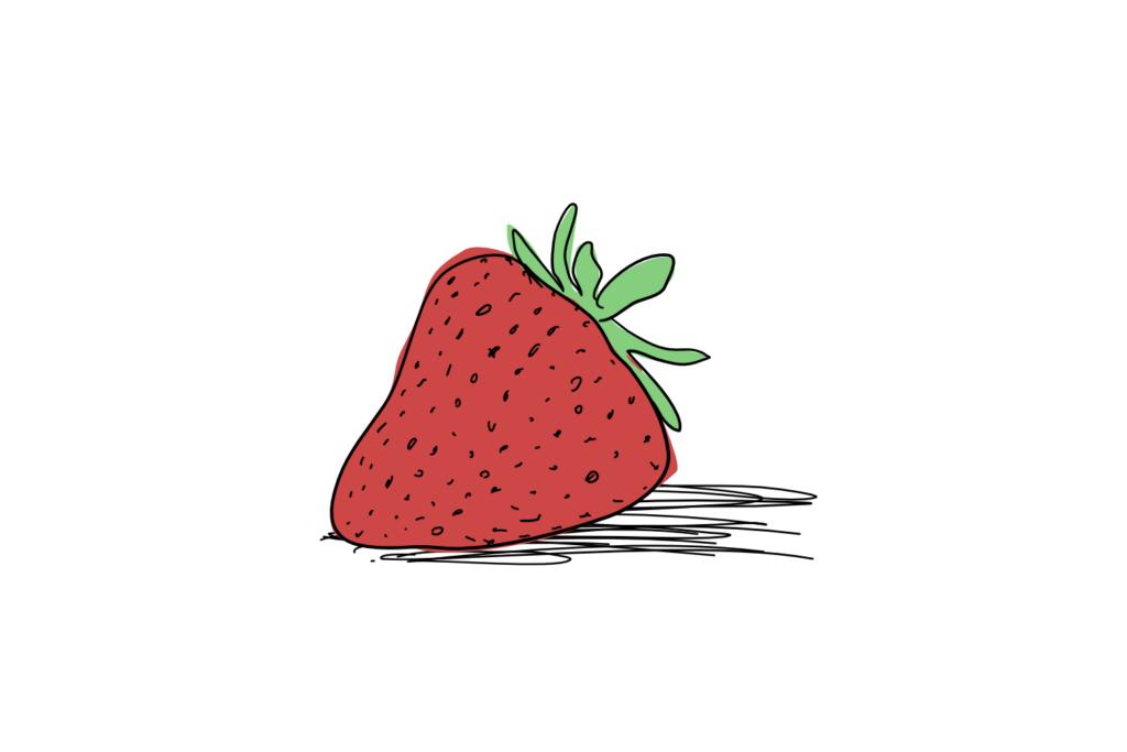 An cartoon of a strawberry