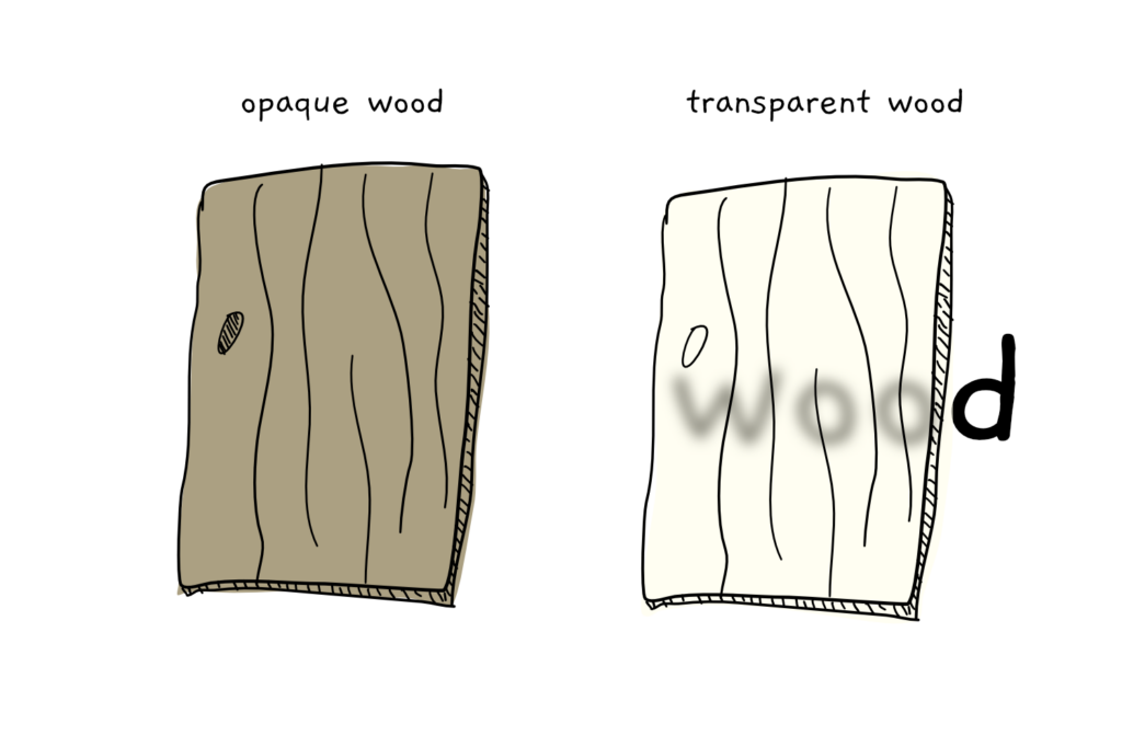 An image showing two pieces of wood, one opaque and one transparent
